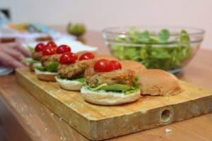 burger avec croquettes de lentilles