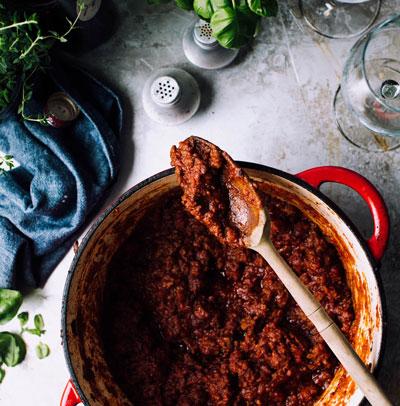 casserole de sauce à spaghetti