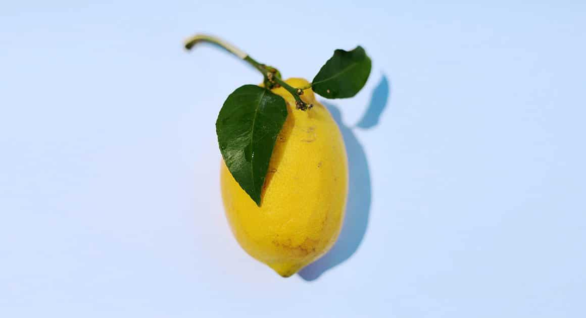 citron avec tige et feuille verte sur fond blanc